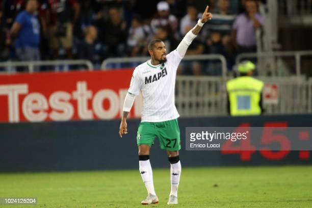Kevin Prince Boateng of Sassuolo celebreates his goal 22 during the serie A match between Cagliari and US Sassuolo at Sardegna Arena on August 26...
