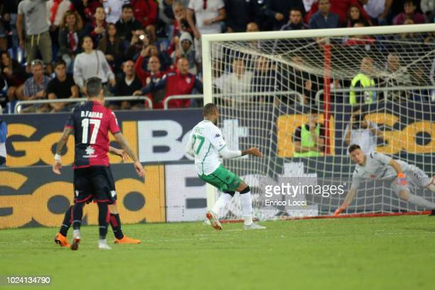Kevin Prince Boateng of Sassuolo scores his goal 22 during the serie A match between Cagliari and US Sassuolo at Sardegna Arena on August 26 2018 in...