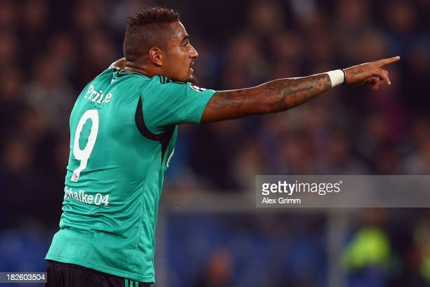 Kevin Prince Boateng of Schalke gestures during the UEFA Champions League Group E match between FC Basel 1893 and FC Schalke 04 at St JakobPark on...