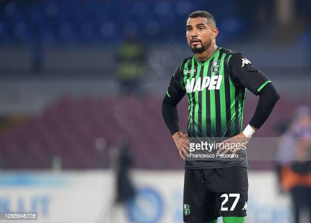 Kevin Prince Boateng of US Sassuolo in action during the Coppa Italia match between SSC Napoli and US Sassuolo at Stadio San Paolo on January 13 2019...
