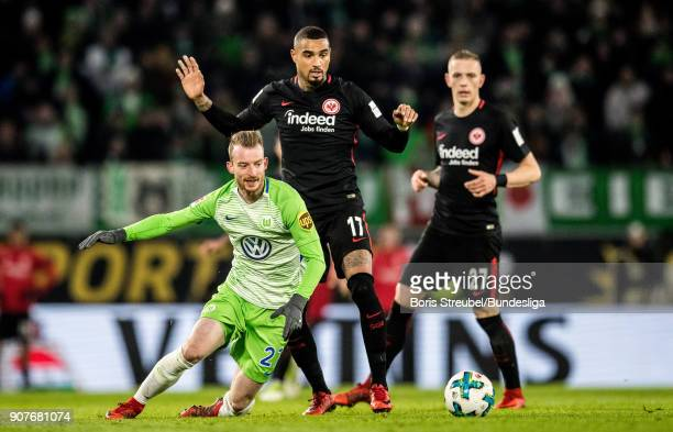 Kevin PrinceBoateng of Eintracht Frankfurt in action with Maximilian Arnold of VfL Wolfsburg during the Bundesliga match between VfL Wolfsburg and...
