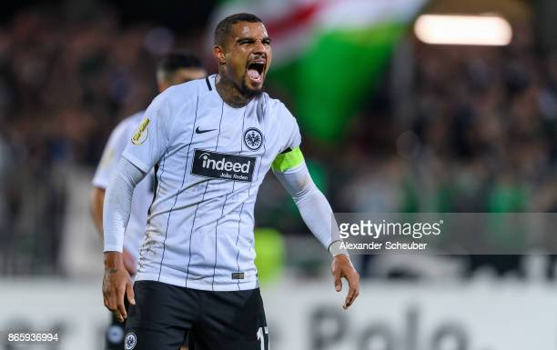 Kevin PrinceBoateng of Eintracht Frankfurt reacts during the DFB Cup match between 1 FC Schweinfurt 1905 and Eintracht Frankfurt at WillySachsStadion...