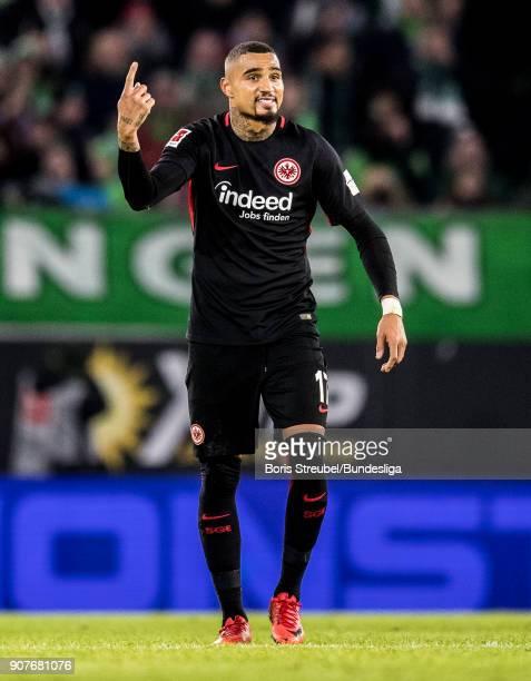 Kevin PrinceBoateng of Eintracht Frankfurt reacts during the Bundesliga match between VfL Wolfsburg and Eintracht Frankfurt at Volkswagen Arena on...