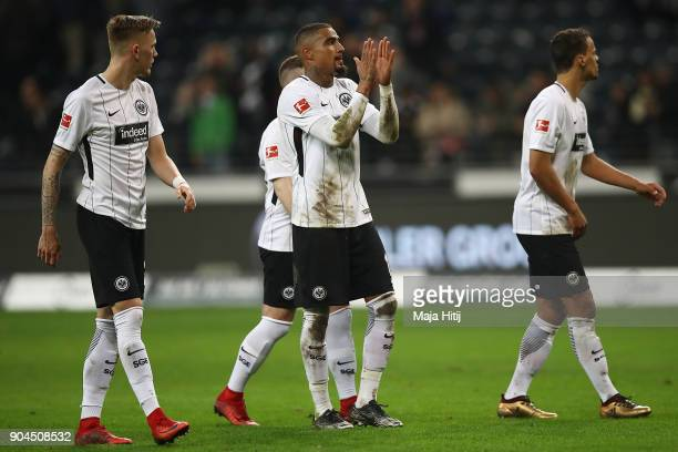Kevin PrinceBoateng of Frankfurt and other players of Frankfurt after the Bundesliga match between Eintracht Frankfurt and SportClub Freiburg at...
