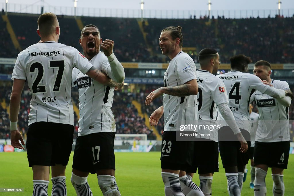 Kevin Prince-Boateng of Frankfurt (17) celebrate after Marius Wolf of Frankfurt (r) scored a goal to make it 4:1 during the Bundesliga match between Eintracht Frankfurt and 1. FC Koeln at Commerzbank-Arena on February 10, 2018 in Frankfurt am Main, Germany.