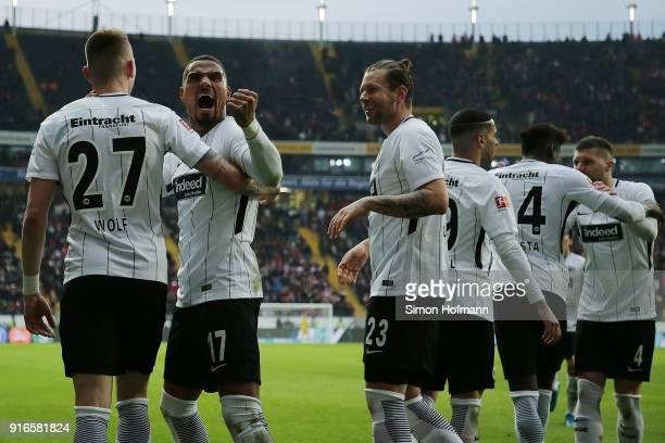 Kevin PrinceBoateng of Frankfurt celebrate after Marius Wolf of Frankfurt scored a goal to make it 41 during the Bundesliga match between Eintracht...
