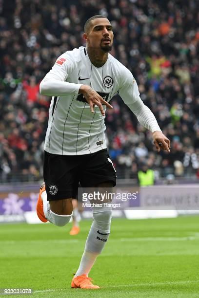 Kevin PrinceBoateng of Frankfurt celebrates after he scored a goal to make it 10 during the Bundesliga match between Eintracht Frankfurt and 1 FSV...