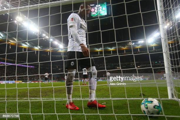 Kevin PrinceBoateng of Frankfurt dejected after Naldo of Schalke scored a goal past goalkeeper Lukas Hradecky of Frankfurt to make it 22 during the...