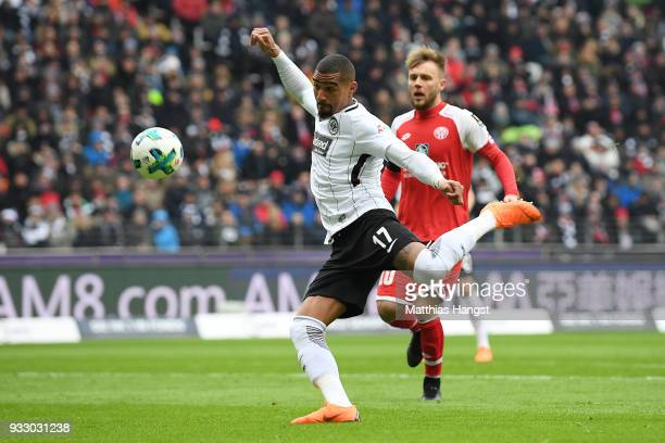 Kevin PrinceBoateng of Frankfurt shoots on target to score a goal to make it 10 during the Bundesliga match between Eintracht Frankfurt and 1 FSV...