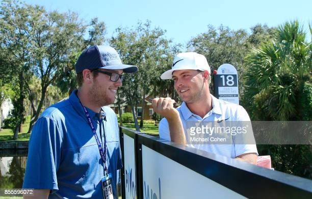 Kevin Prise the Senior Correspondent Webcom Tour talks with Keith Mitchell at the 18th tee box during the second round of the Webcom Tour...