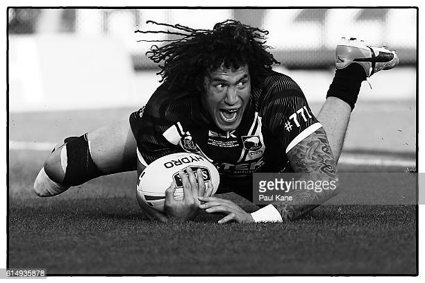 Kevin Proctor of New Zealand crosses for a try during the International Rugby League Test match between the Australian Kangaroos and the New Zealand...