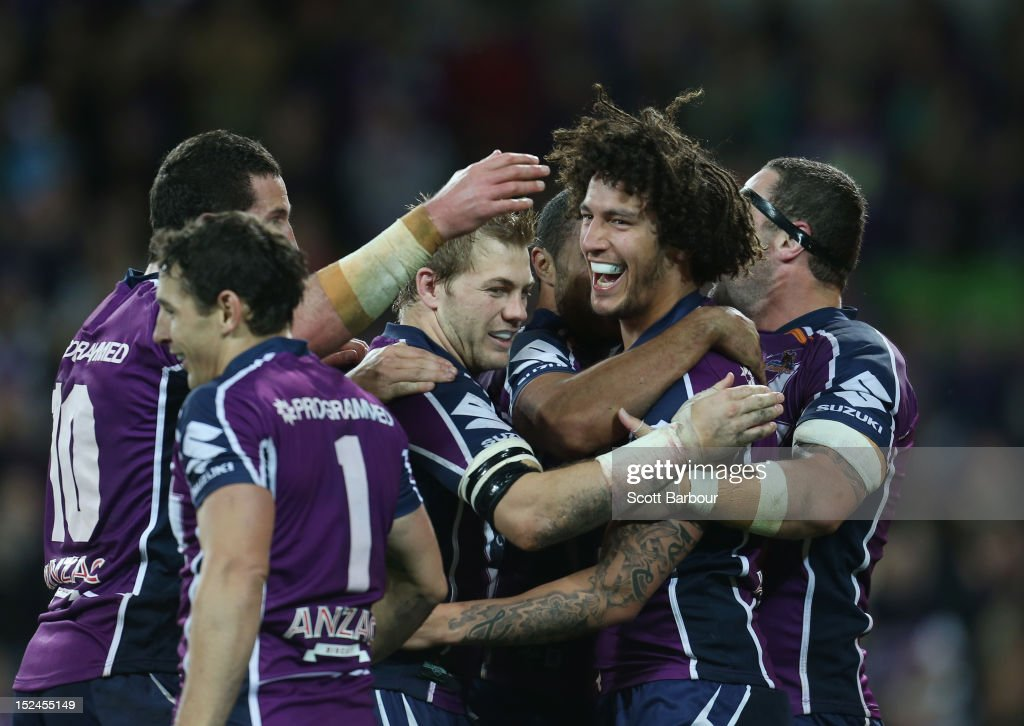 Kevin Proctor of the Storm celebrates after scoring a try in the second half during the NRL Preliminary Final match between the Melbourne Storm and the Manly Sea Eagles at AAMI Park on September 21, 2012 in Melbourne, Australia.