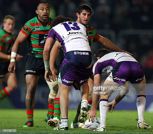 Kevin Proctor of the Storm loses his shorts during the round 16 NRL match between the South Sydney Rabbitohs and the Melbourne Storm at Members...