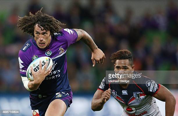 Kevin Proctor of the Storm runs with the ball during the round five NRL match between the Melbourne Storm and the New Zealand Warriors at AAMI Park...