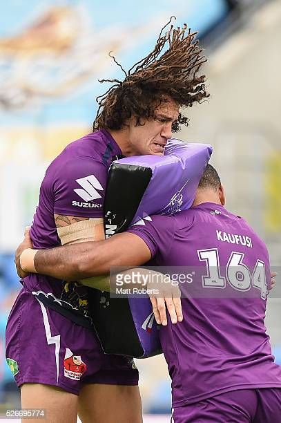 Kevin Proctor of the Storm warms up before the round nine NRL match between the Gold Coast Titans and the Melbourne Storm on May 1 2016 in Gold Coast...