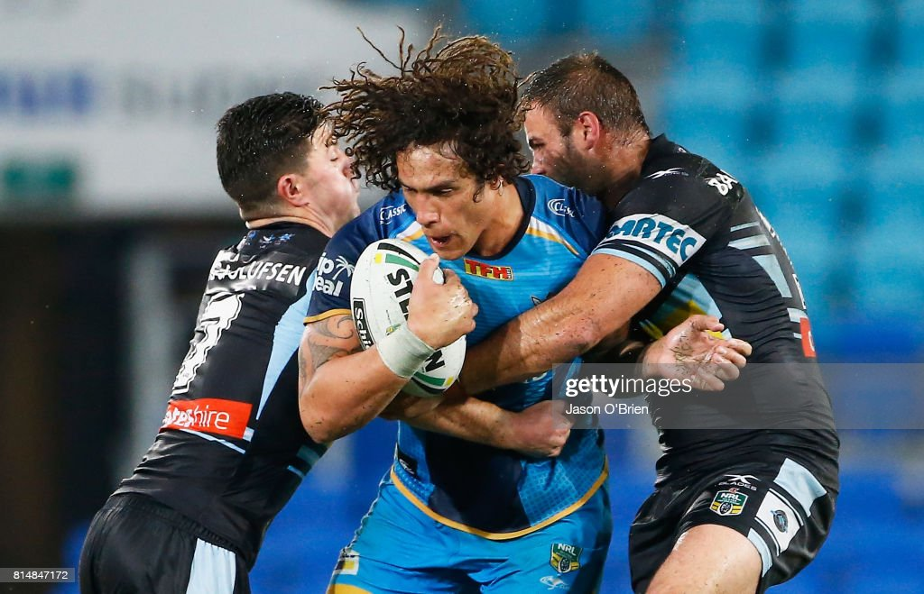 Kevin Proctor of the Titans in action during the round 19 NRL match between the Gold Coast Titans and the Cronulla Sharks at Cbus Super Stadium on July 15, 2017 in Gold Coast, Australia.