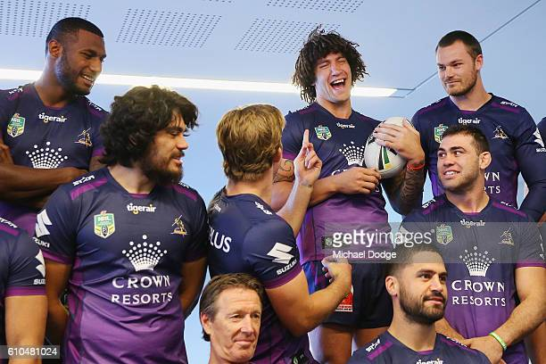 Kevin Proctor reacts as he waits for the team photograph to take place during a Melbourne Storm NRL media opportunity at AAMI Park on September 26...