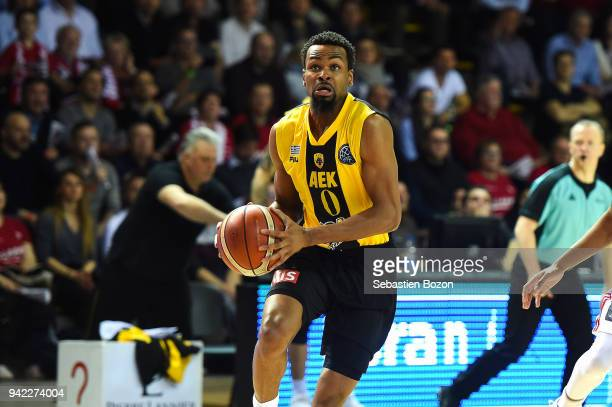 Kevin Punker of AEK Athens during the Champions League match between Strasbourg and AEK Athens on April 4 and 2018 in Strasbourg and France