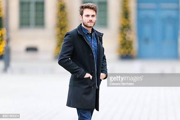 Kevin Ragonneau, fashion and life style blogger, is wearing New Balance blue shoes, Zara blue denim jeans, a Syu blue denim shirt, and a Carnet de...