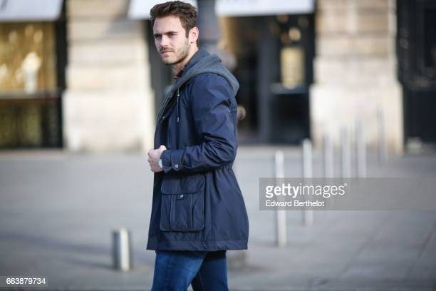 Kevin Ragonneau fashion and life style blogger wears a The kooples jacket The Kooples red tartan shirt Calvin Klein jeans Nike Internationalist...