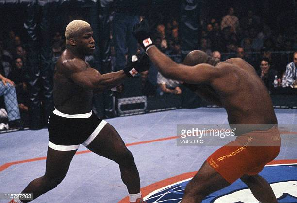 Kevin Randleman punches Maurice Smith during their bout at UFC 19 at Casino Magic on March 5 1999 in Bay Saint Louis Mississippi