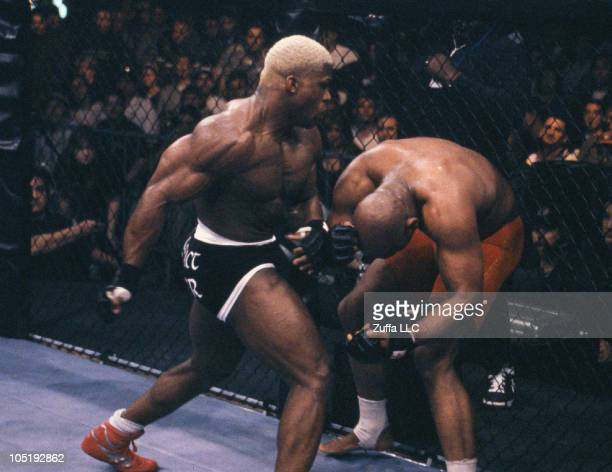Kevin Randleman punches Maurice Smith in a heavyweight title eliminator at UFC 19 on March 5 1999 in Bay St Louis Mississippi