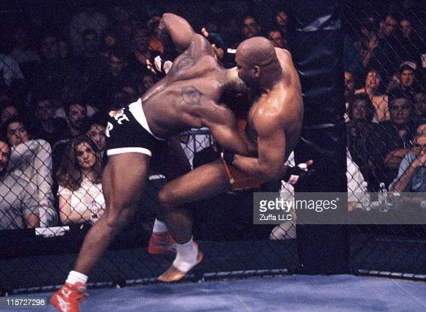 H 05 Kevin Randleman takes down Maurice Smith during their bout at UFC 19 at Casino Magic on March 5 1999 in Bay St Louis Mississippi