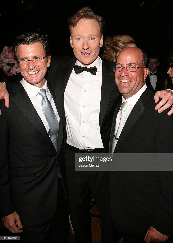 Kevin Reilly, Conan O'Brien (center)and Jeff Zucker of NBC
