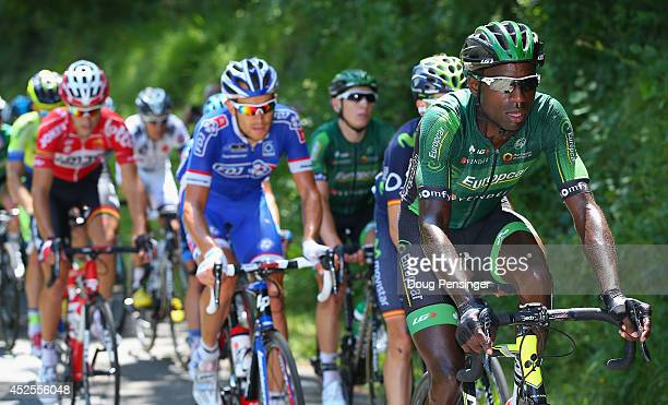 Kevin Reza of France and Team Europcar rides at the front of the breakaway group on the climb of the Col de Portet d'Aspet during the sixteenth stage...
