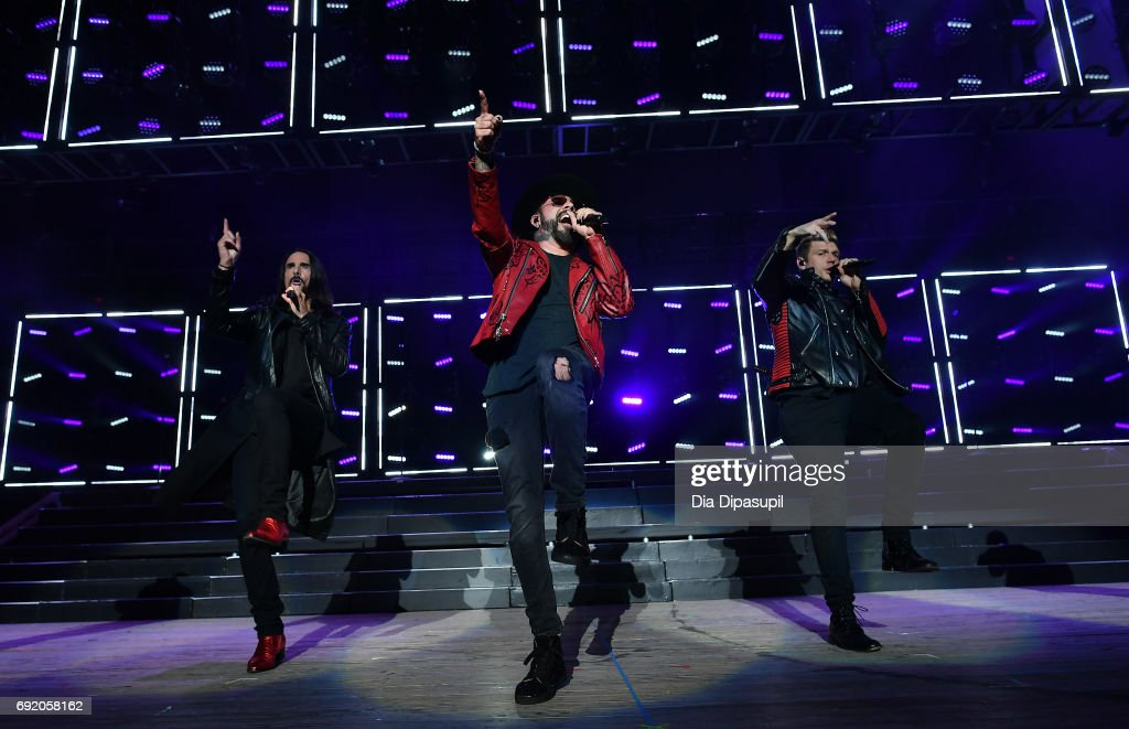 Kevin Richardson, AJ McLean and Nick Carter of Backstreet Boys perform onstage during 103.5 KTU's KTUphoria 2017 presented by AT&T at Northwell Health at Jones Beach Theater on June 3, 2017 in Wantagh, New York.