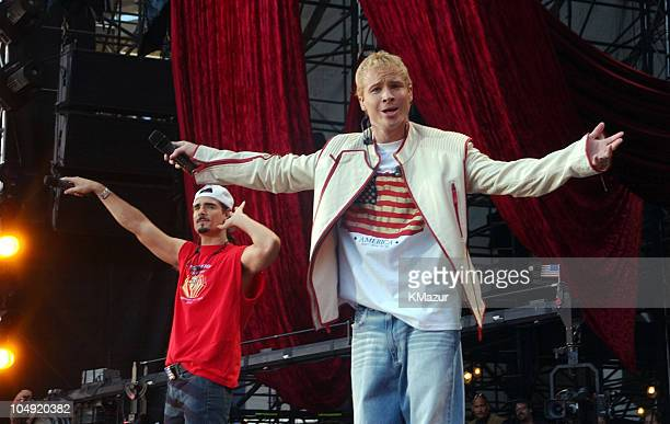 Kevin Richardson and Brian Littrell of the Backstreet Boys perform