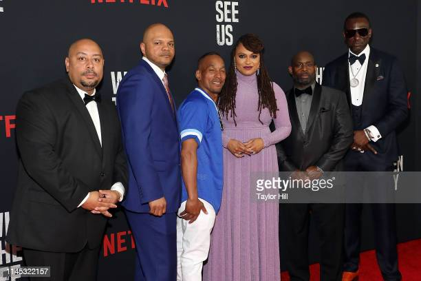 Kevin Richardson Antron Mccray Raymond Santana Jr director Ava Duvernay Korey Wise and Yusef Salaam attend the World Premiere of Netflix's When They...