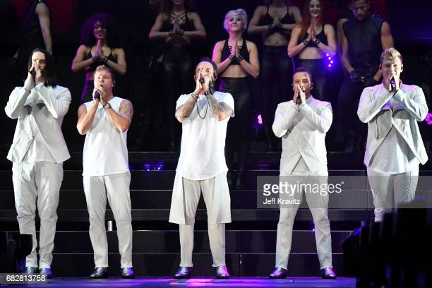 Kevin Richardson Brian Littrell AJ McLean Howie Dorough and Nick Carter of Backstreet Boys perform onstage during 1027 KIIS FM's 2017 Wango Tango at...