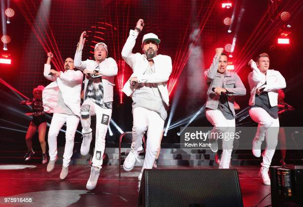 Kevin Richardson Brian Littrell AJ McLean Howie Dorough and Nick Carter of The Backstreet Boys perform onstage during 2018 BLI Summer Jam at...