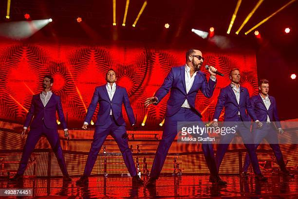 Kevin Richardson Brian LittrellAJ McLean Howie Dorough and Nick Carter of Back Street Boys are performing at Shoreline Amphitheatre on May 25 2014 in...