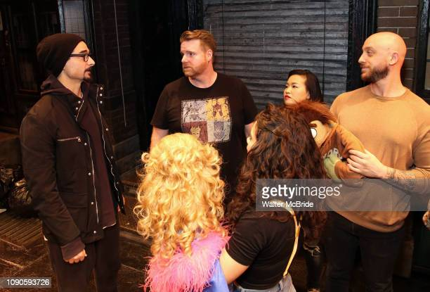Kevin Richardson from the Backstreet Boys backstage with the cast members Nick Kohn Grace Choi and Michael Liscio Jr of Avenue Q at the New World...