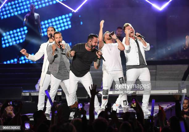 Kevin Richardson Howie Dorough AJ McLean Brian Littrell and Nick Carter of music group Backstreet Boys perform onstage during the 2018 iHeartRadio...