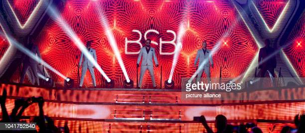 Kevin Richardson Howie Dorough Alexander James McLean Brian Littrell uand Nick Carter of the US band Backstreet Boys perform a concert on the stage...