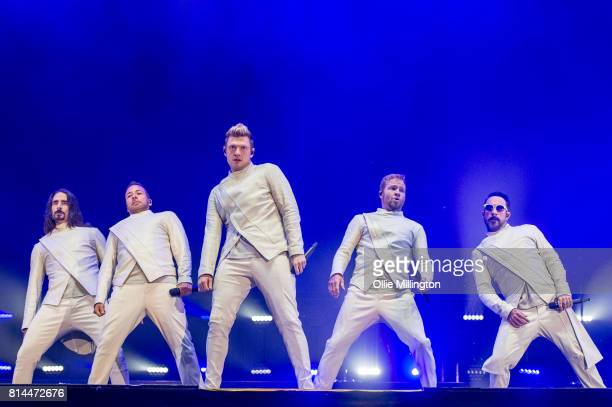 Kevin Richardson Howie Dorough Nick Carter Brian Littrell and AJ McLean of Backstreet Boys performs onstage headlining Day 4 of the 50th Festival...