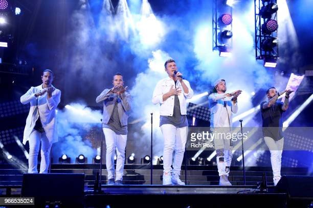Kevin Richardson Howie Dorough Nick Carter Brian Littrell and AJ McLean of music group Backstreet Boys perform onstage during the 2018 iHeartRadio...