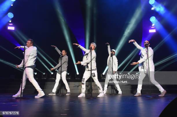 Kevin Richardson Howie Dorough Nick Carter Brian Littrell and AJ McLean of The Backstreet Boys perform at 1035 KTU's KTUphoria on June 16 2018 in...