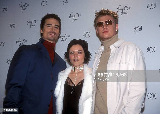 Kevin Richardson Krystal and Nick Carter during The 29th Annual American Music Awards Press Room at The Shrine Auditorium in Los Angeles California...