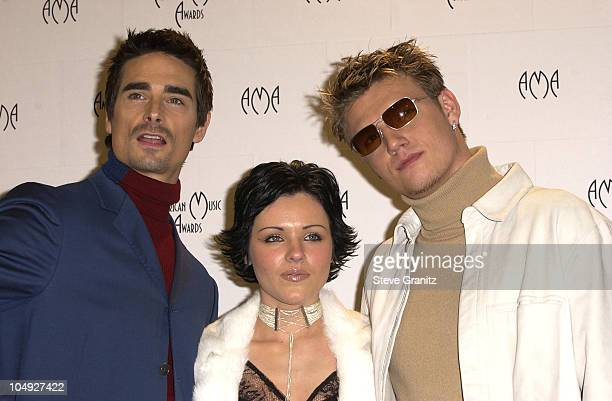 Kevin Richardson Krystal Nick Carter during The 29th Annual American Music Awards Press Room at The Shrine Auditorium in Los Angeles California...