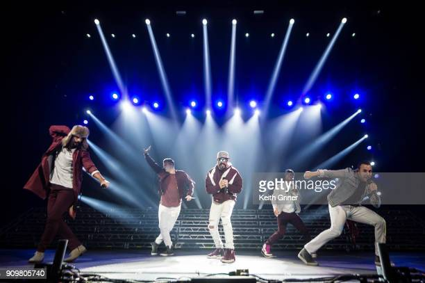 Kevin Richardson Nick Carter AJ McLean Brian Littrell and Howie Dorough of the Backstreet Boys perform at Bankers Life Fieldhouse on December 12 2017...