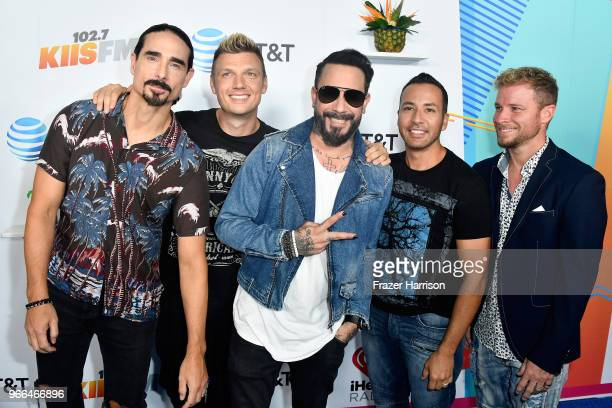Kevin Richardson Nick Carter AJ McLean Howie Dorough and Brian Littrell of music group Backstreet Boys attend iHeartRadio's KIIS FM Wango Tango by...