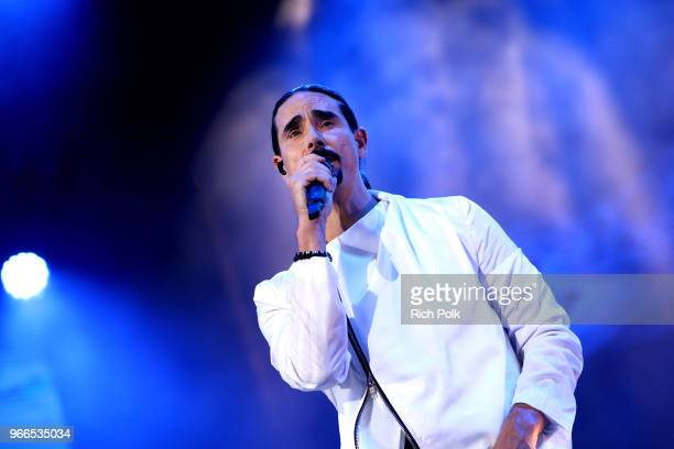 Kevin Richardson of music group the Backstreet Boys performs onstage during the 2018 iHeartRadio Wango Tango by ATT at Banc of California Stadium on...