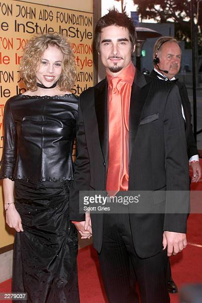 Kevin Richardson of the Backstreet Boys and wife at Elton John Aids Foundation/InStyle Oscar Party in Los Angeles on March 26 2000