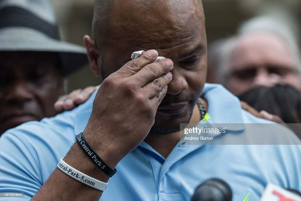 Kevin Richardson, one of the five men wrongfully convicted of raping a woman in Central Park in 1989, wipes his brow while speaking at a press conference on city halls' steps after it was announced that the men, known as the 'Central Park Five,' had settled with New York City for approximately $40 million dollars on June 27, 2014 in New York City. All five men spent time in jail, until their convictions were overturned in 2002 after being proven innocent.