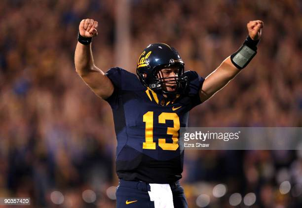 Kevin Riley of the California Golden Bears celebrates a touchdown by Jahvid Best that gave the Bear a 13-0 lead over the Maryland Terrapins at...