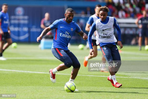 Kevin Rimane and Christopher Nkunku of PSG during the training session of Paris Saint Germain at Parc des Princes on May 16 2018 in Paris France